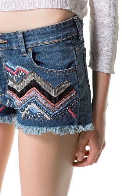2296c9965 SHORT DENIM BORDADO - Shorts - Mujer | ZARA España | DIY clothes en ...