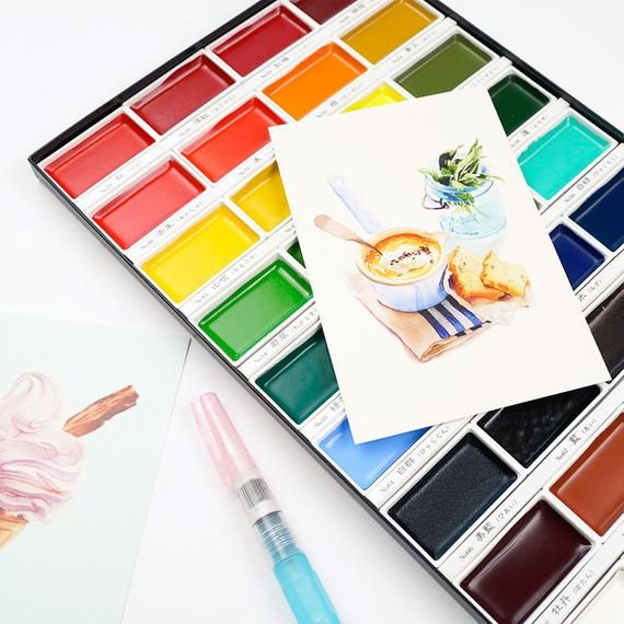 Watercolor Paint Set From Japan Kuretake Gansai Tambi