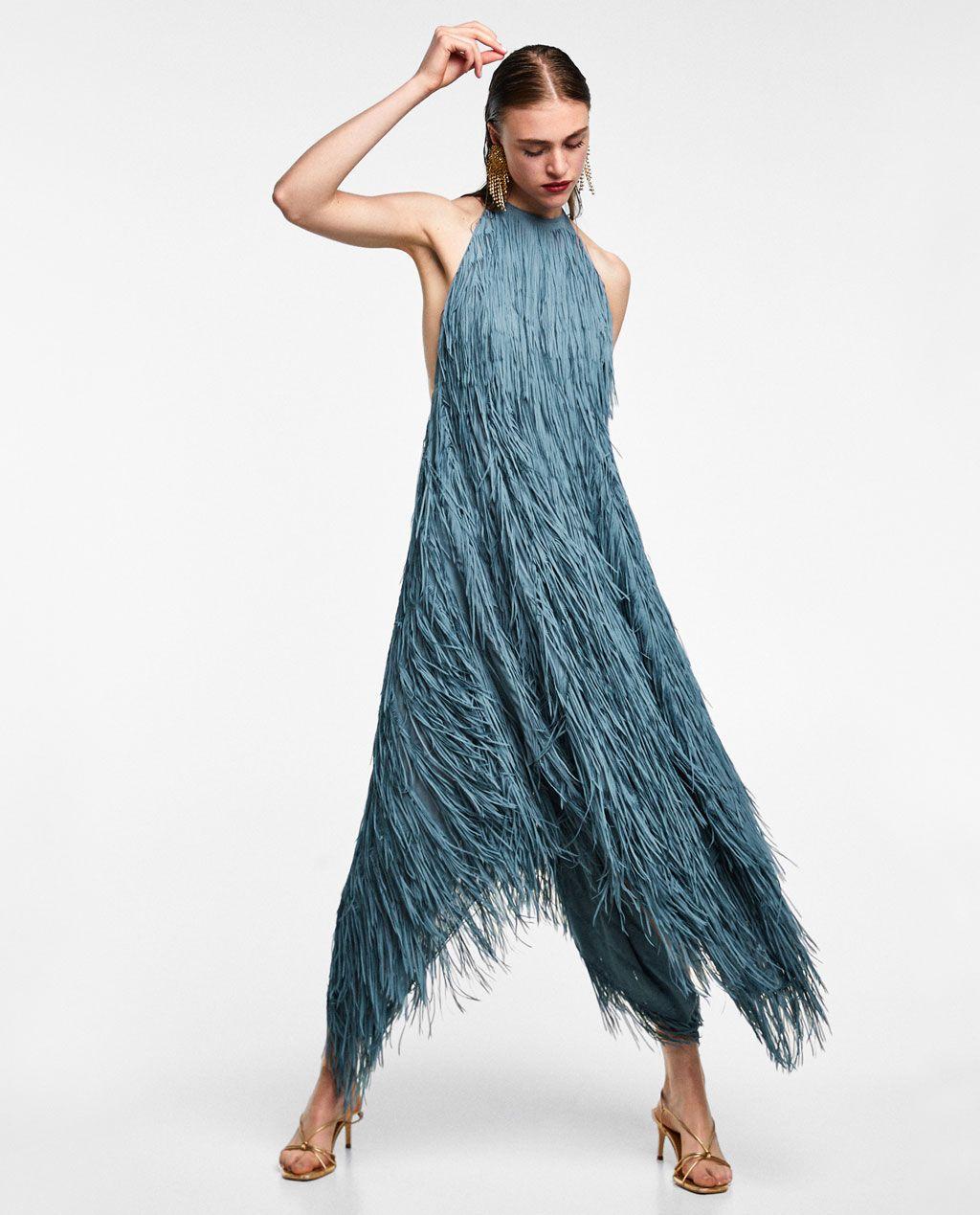 0023483e585f VESTIDO HALTER FLECOS | In My Closet | Dresses, Fringe dress, Zara ...
