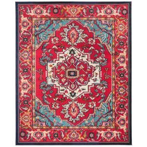 Safavieh Monaco Red Turquoise 8 Ft X 10 Ft Area Rug Mnc207c 810 The Home Depot In 2020 Turquoise Rug Red Rugs Living Room Red