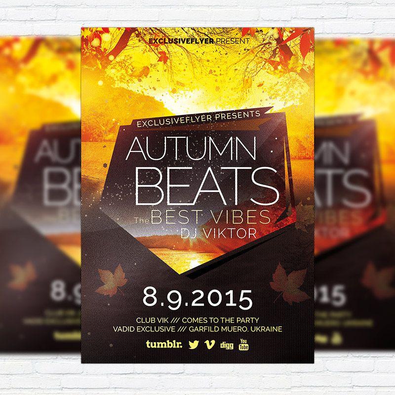 Autumn Beats - Premium Flyer Template + Facebook Cover http ...