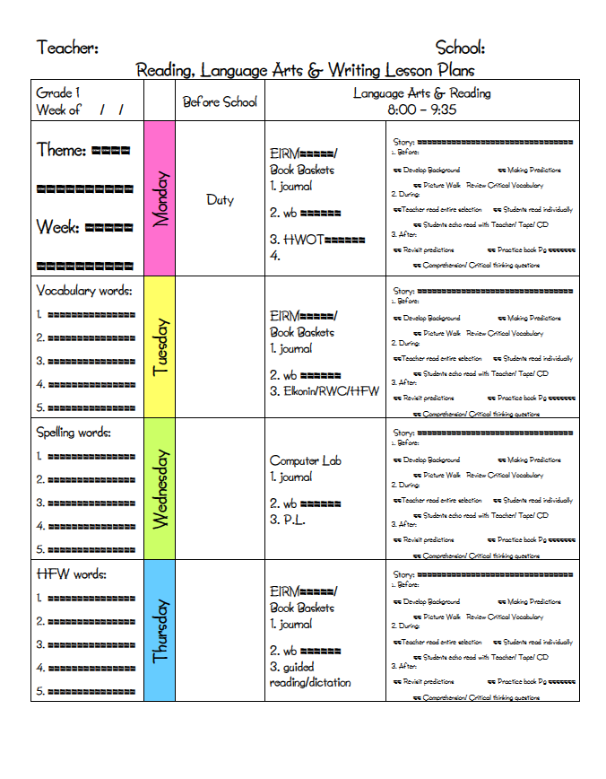 My Daily Schedule Kindergarten Kindergarten Class And Classroom - Otes lesson plan template