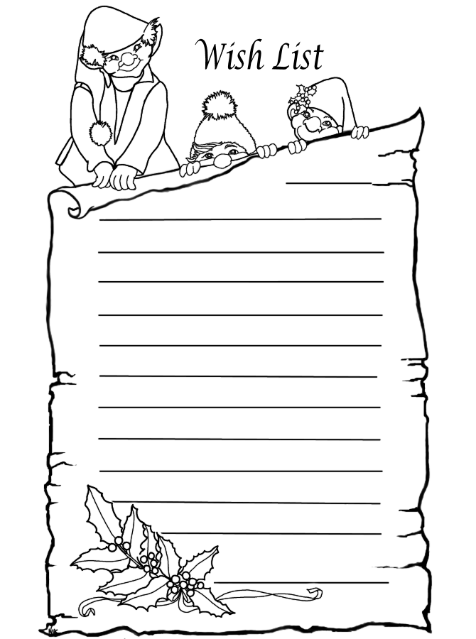 Elves Wish List Www Pheemcfaddell Com Christmas Christma Christmas Present Coloring Pages Christmas Tree Coloring Page Printable Christmas Coloring Pages