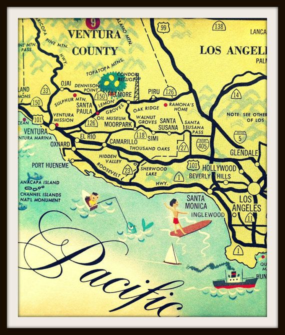 Vintage California Art, Los Angeles Map, Santa Monica Map ...