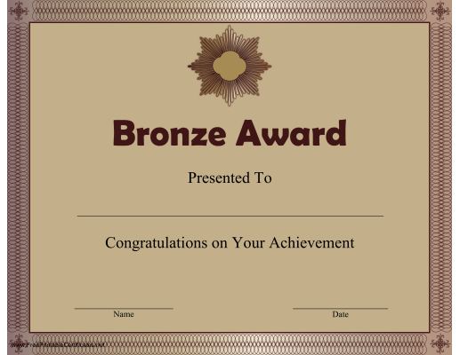 Printable Bronze Award certificate.   Bronze Award ...
