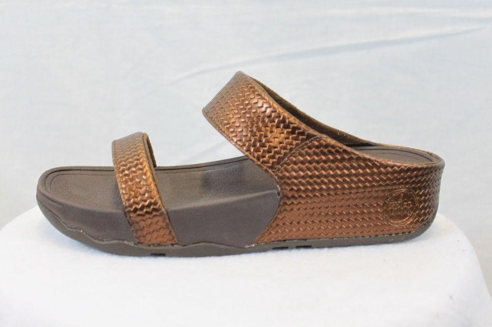 c8146c590aa Fitflop LULU Weave Slides Bronze Fit Flops Padded Comfort MSRP  110 NEW   FitFlop  Slides