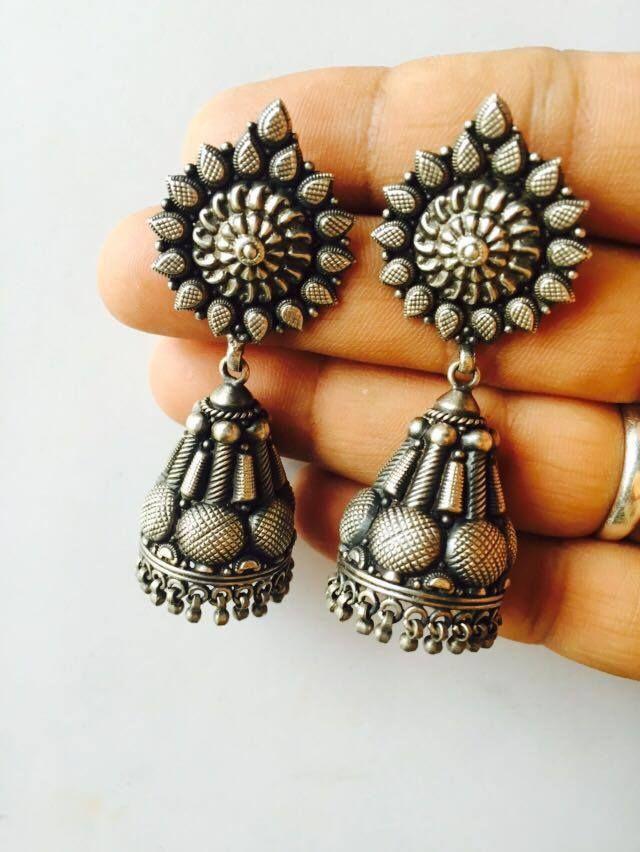 2a2de230b Exclusive 925 silver Ruby Jhumkas | Buy Online Silver jewellery | Elegant  Fashion Wear