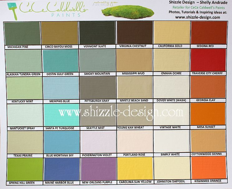 paint colors for furnitureCeCe Caldwells hand painted color chart by Shizzle Design in
