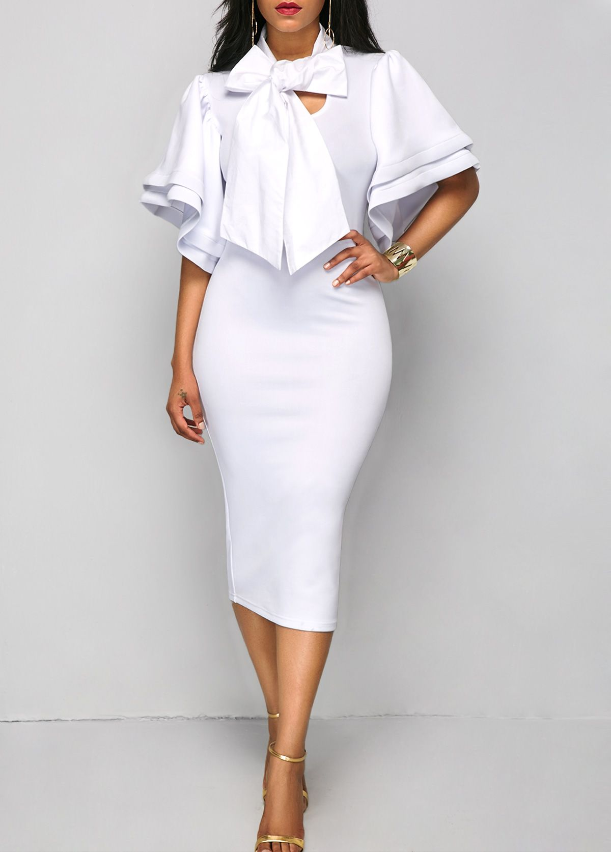 7a5bdb9943b8 Flare Sleeve Tie Neck White Sheath Dress on sale only US 34.90 now ...