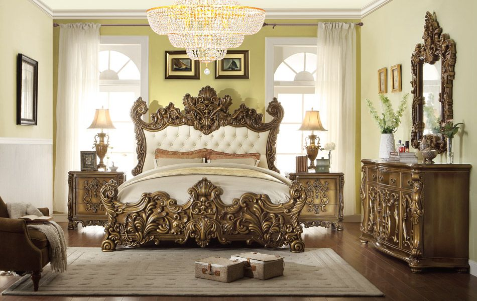 Hand Carved King Or Queen Bed Of Solid Wood With Gold Leafs Decors From A Castle Distinctive For Its Traditional Properties Antique Furniture