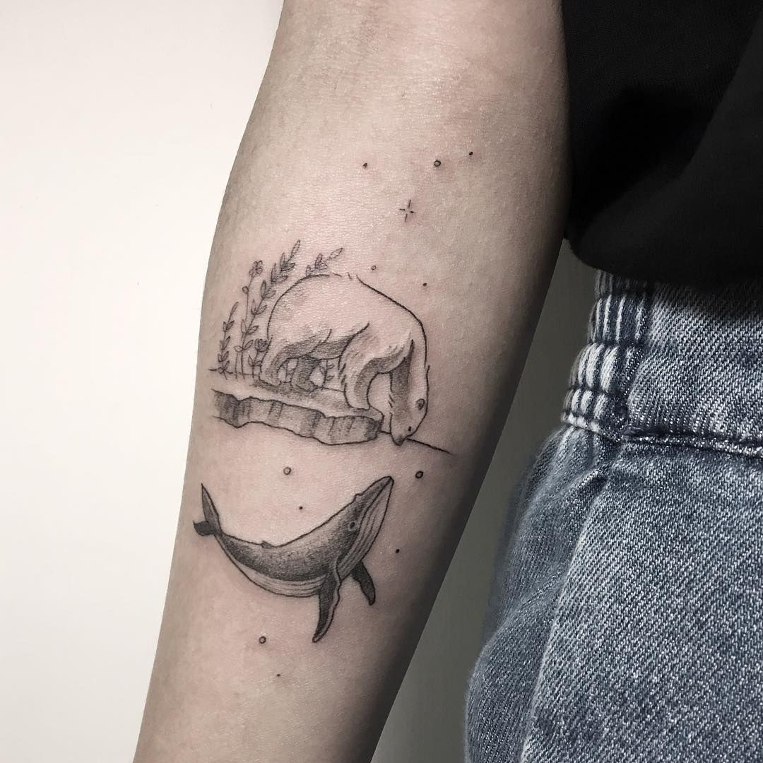Photo of Polar bear and whale tattoo on the right inner forearm