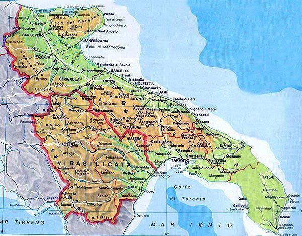 Regione Puglia Cartina Politica.Mappa Puglia Cartina Della Puglia Genealogy Map Italy