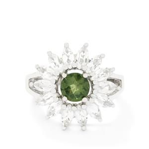 Mandrare Green Apatite & White Topaz Sterling Silver Ring ATGW 3.49cts