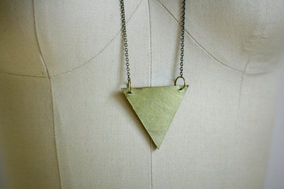 Minimalist Leather Gold Triangle Necklace  Antique by shoprarebird