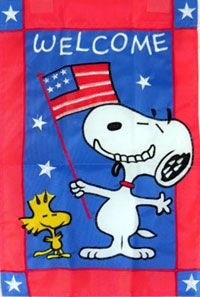 Welcome Snoopy W/ American Flag Garden Flag 12x18