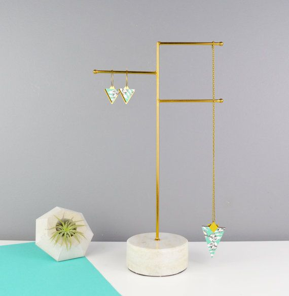 0ba975cf2 Jewellery Stand - Marble Necklace Holder in Brass - Personalised ...