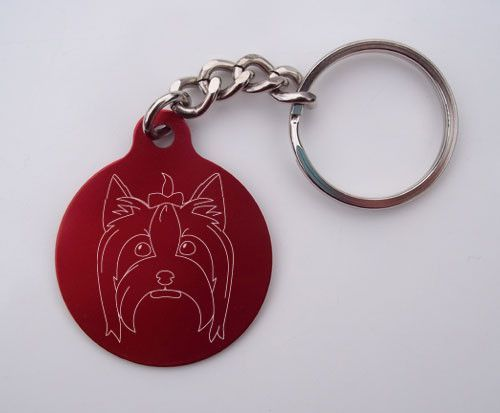Laser-Etched Yorkshire Terrier Face Key Chain: Red Circle Yorkshire Terrier Face Key Chain