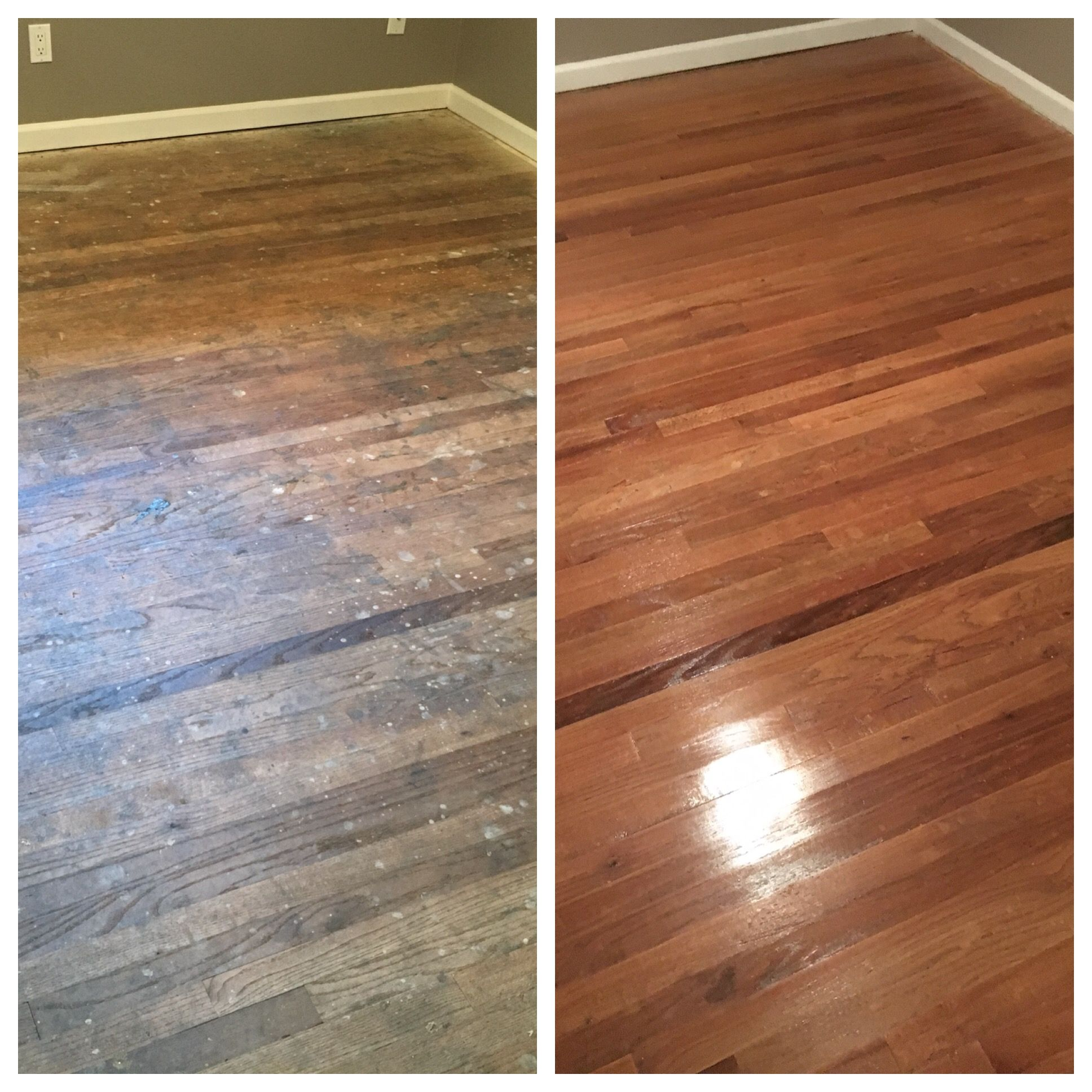 Before And After Picture Of A Beautiful Wood Floor That Was Refinished By Mr Sandless Of Greater Monterey Refinish Wood Floors Flooring Clean Hardwood Floors