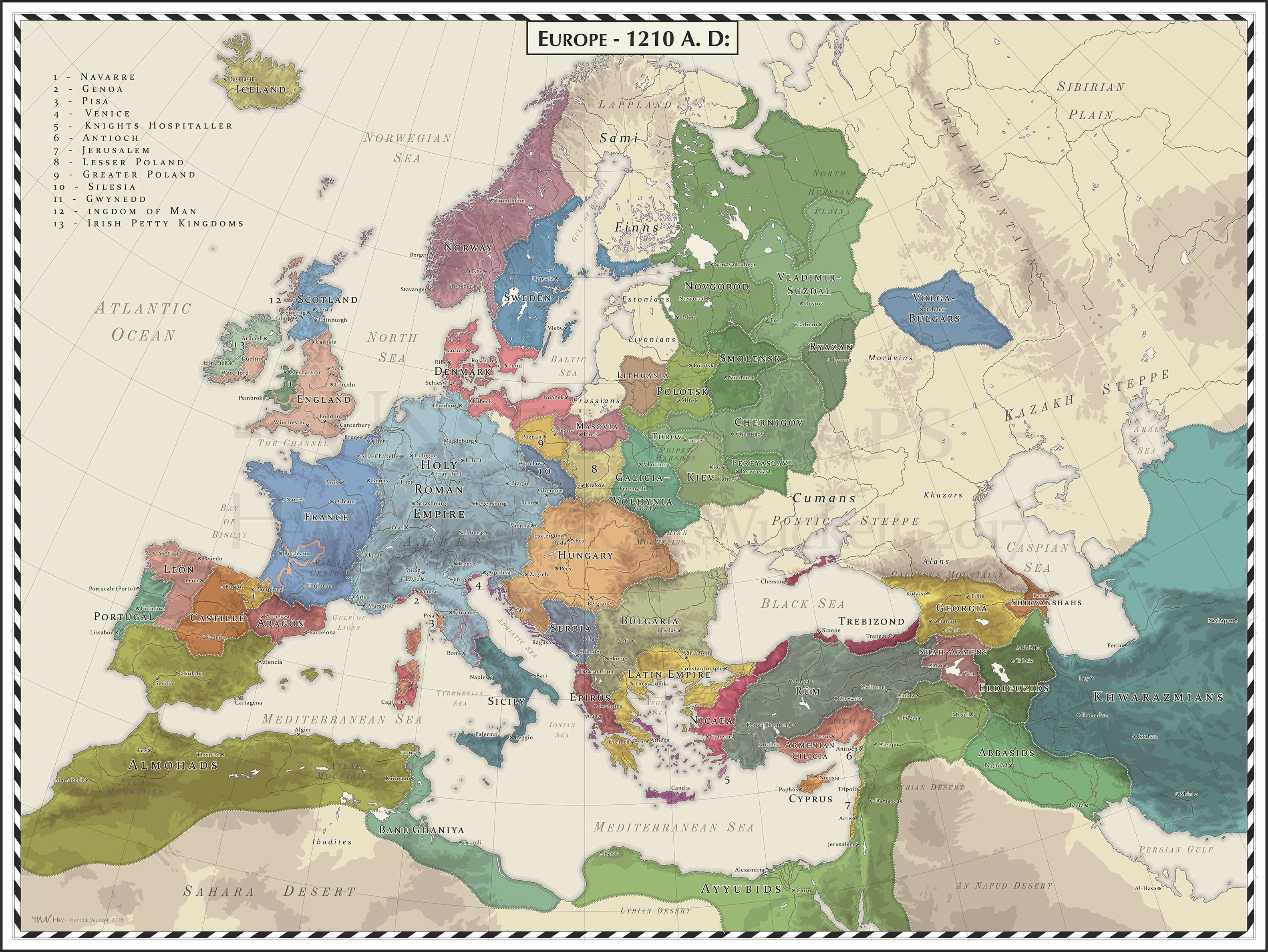 Europe   1210 AD | mapmania | Map, Europe, European History