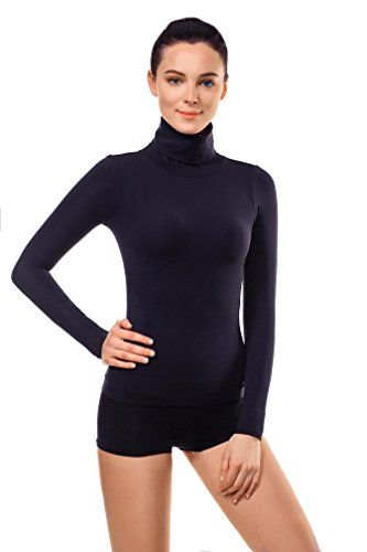 76de2756f4f53 Women s Thermal Underwear - MD Basic Slim Fit Long Sleeve Turtleneck Tshirt  Thermal Underwear Waist Tummy And Bust Shaper -- You can find more details  by ...