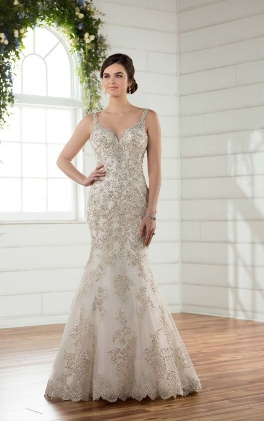 7404b0b1b28 D2399 Pearl Beaded Vintage Wedding Gown by Essense of Australia