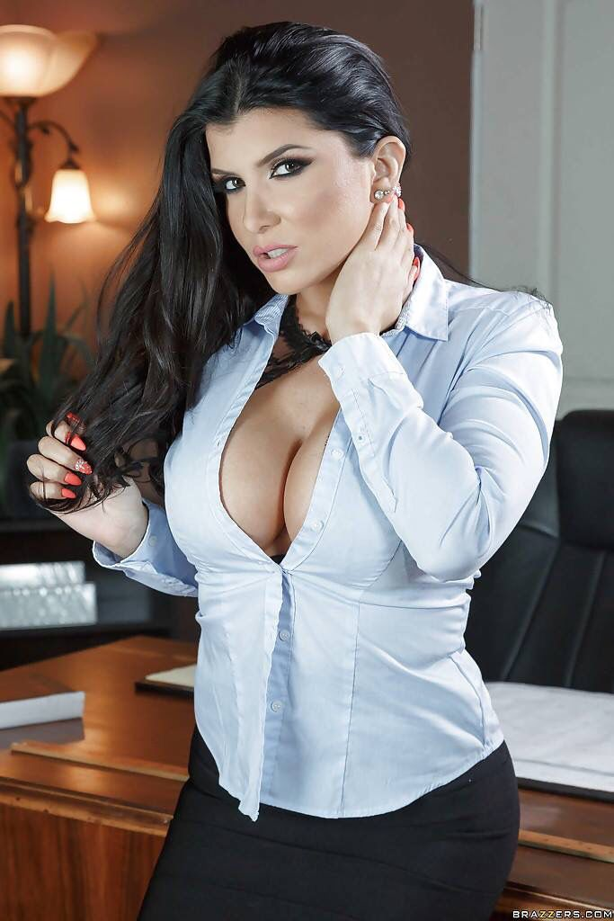 Hot busty office in white blouse