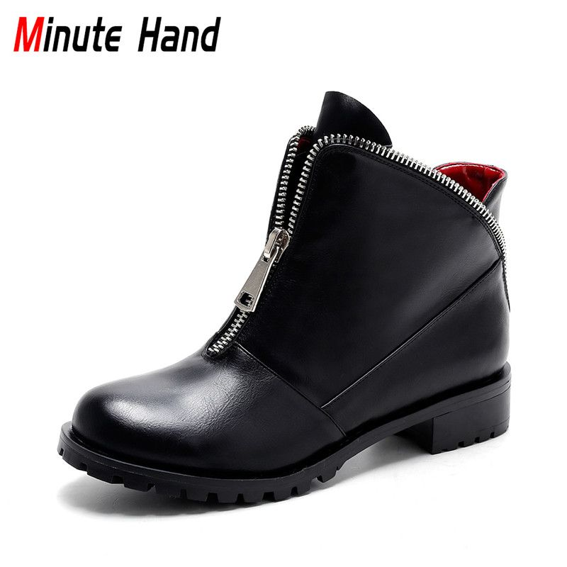 Find More Ankle Boots Information About Minute Hand New Fashion Black Ankle Boots For Women Winter Warm Shoes Square Low Heel Ladie Bayan Ayakkabi Bot Deri Bot