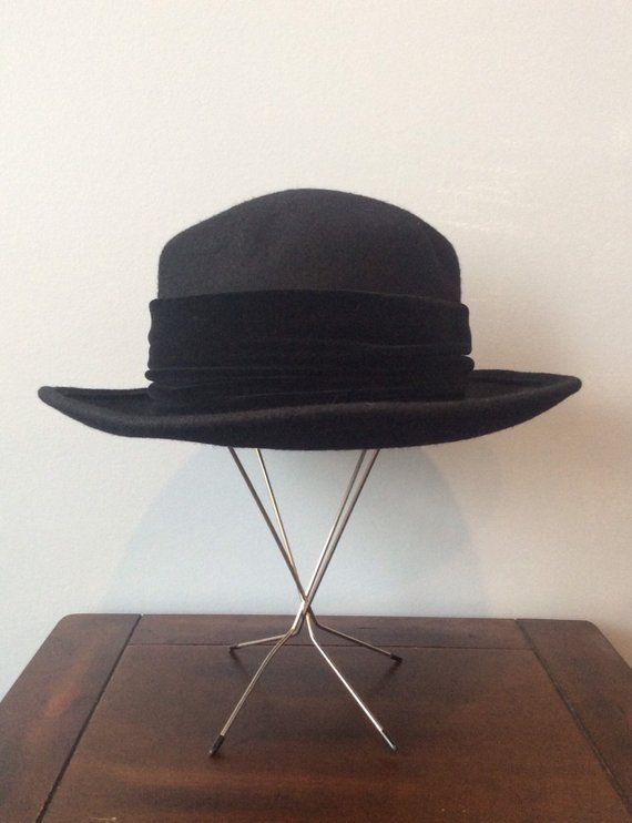 17b4b557e8b 1980s Bollman Hat Co Doeskin Felt Black Bowler Hat with Black Velvet Ribbon