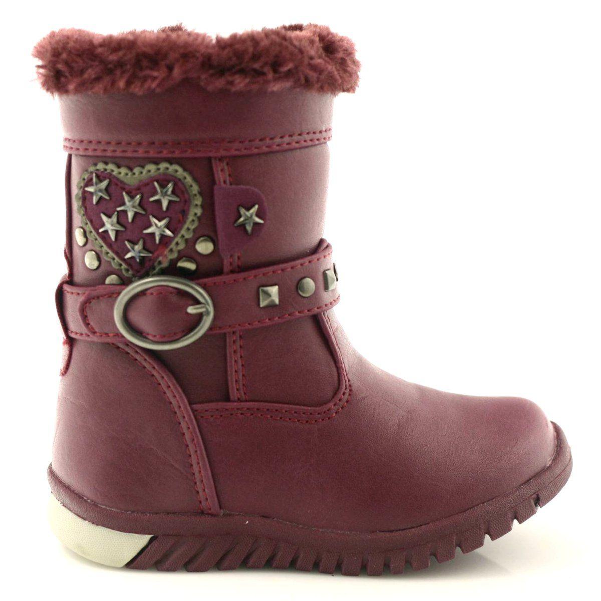 American Club Kozaczki Dziewczece American 86158 Bordowe Wielokolorowe Boots Ugg Boots Shoes