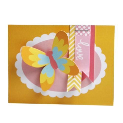 Find out how to make this pretty butterfly card with Craft Asylum papers, embellishments and stamps set.