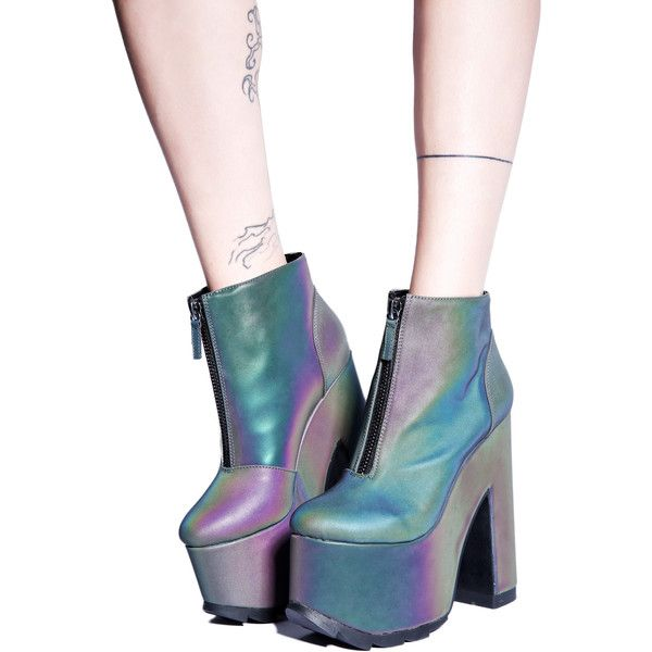 Y.R.U. Nightmare Reflective Platform Boot ($125) ❤ liked on Polyvore featuring shoes, boots, platform shoes, black platform boots, black zipper boots, vegan shoes and holographic shoes