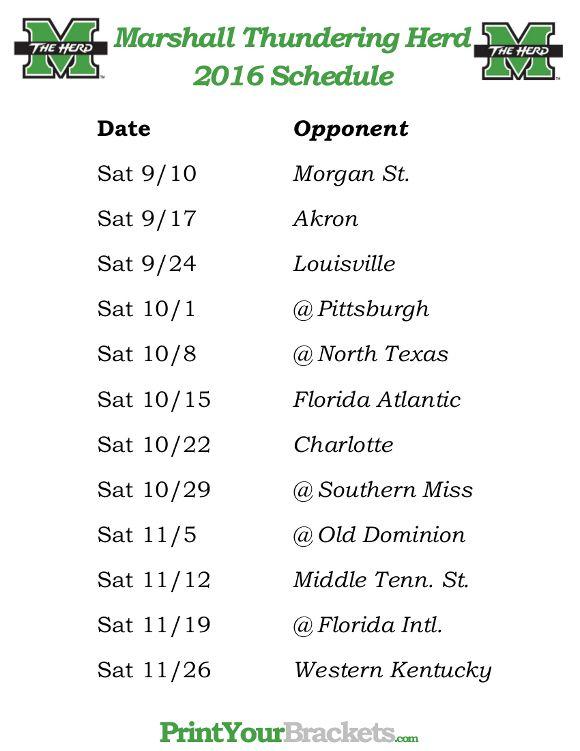 Printable Marshall Thundering Herd Football Schedule 2016 Marshall Thundering Herd Football Virginia Tech Hokies Football Virginia Tech Hokies