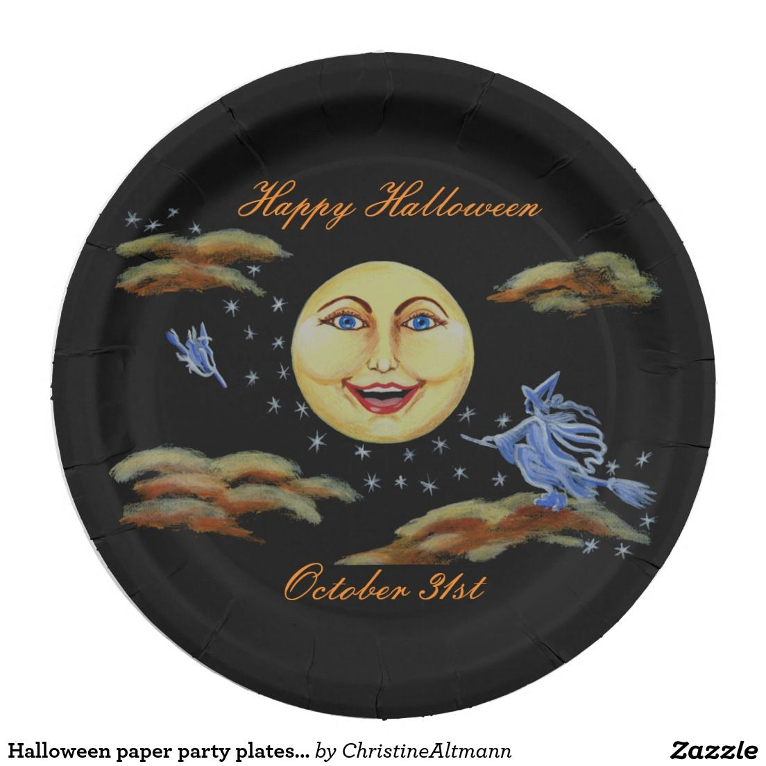 Halloween paper party plates, moon with witches
