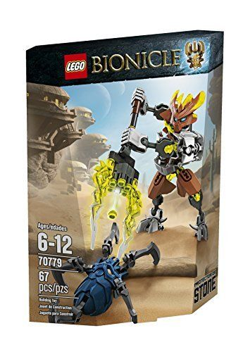 """LEGO Bionicle 70779 Protector of Stone Building Kit (673419231022) Also includes a dark blue Skull Spider; adjust the arms and legs for ferocious battle poses Target the Skull Spider with the rapid shooter Don't let the Skull Spider pop off the mask Durable design for intense action play; stands over 5"""" (15cm) tall Combine with 70785 LEGO BIONICLE Pohatu - Master of Stone using building instructions available at LEGO.com/BIONICLE to power up for ultra elemental battle"""