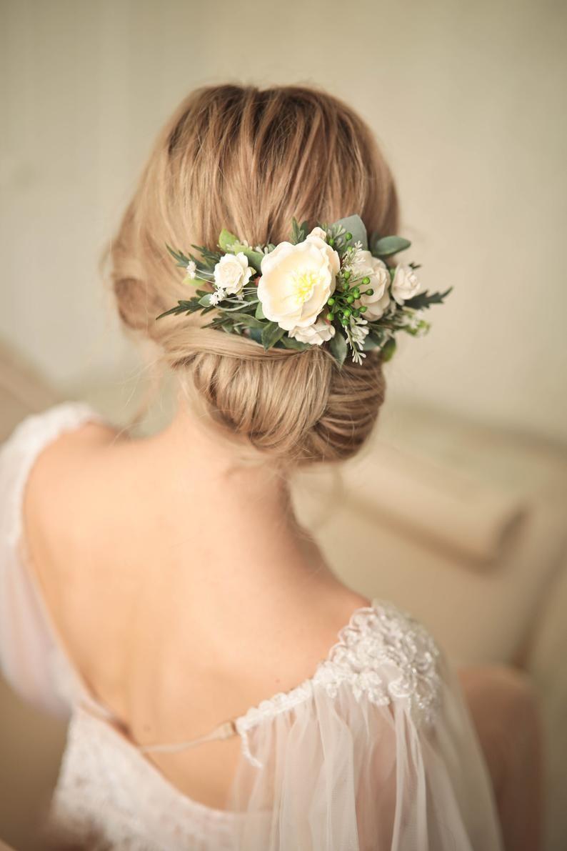 Greenery White bridal flower hair pins set of 6 Greenery hair piece Wedding headpiece Baby/'s breath hair Wedding hair accessory