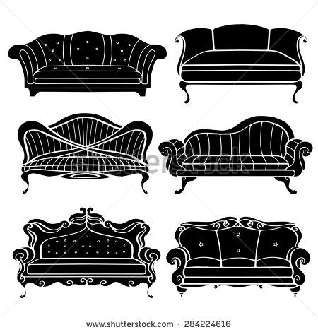 Furniture Hand Drawn Set Vintage Sofa Couch Front View Closeup