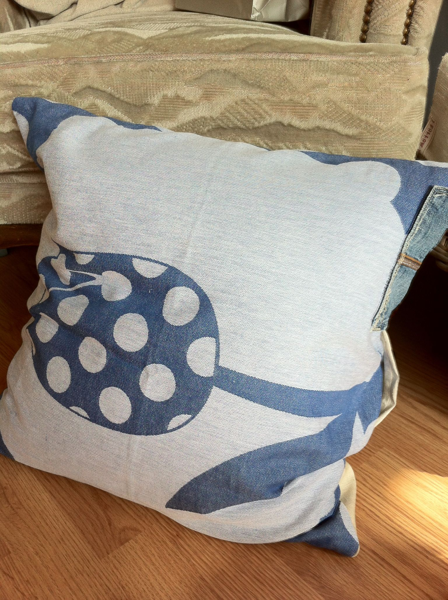 Home Made Pillow With Old Linen, Tea Towel And Jeans