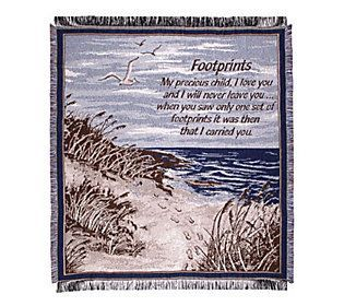 Footprints in the Sand Cotton Throw by Simply Home