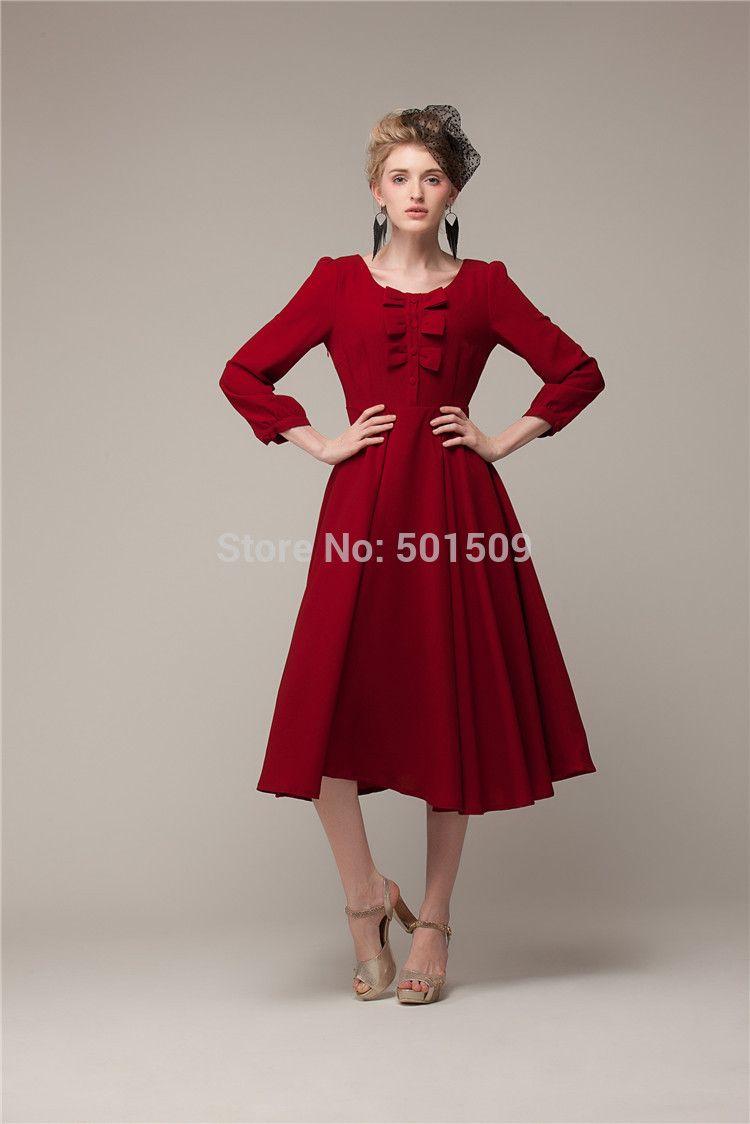 Robe rouge retro pas cher