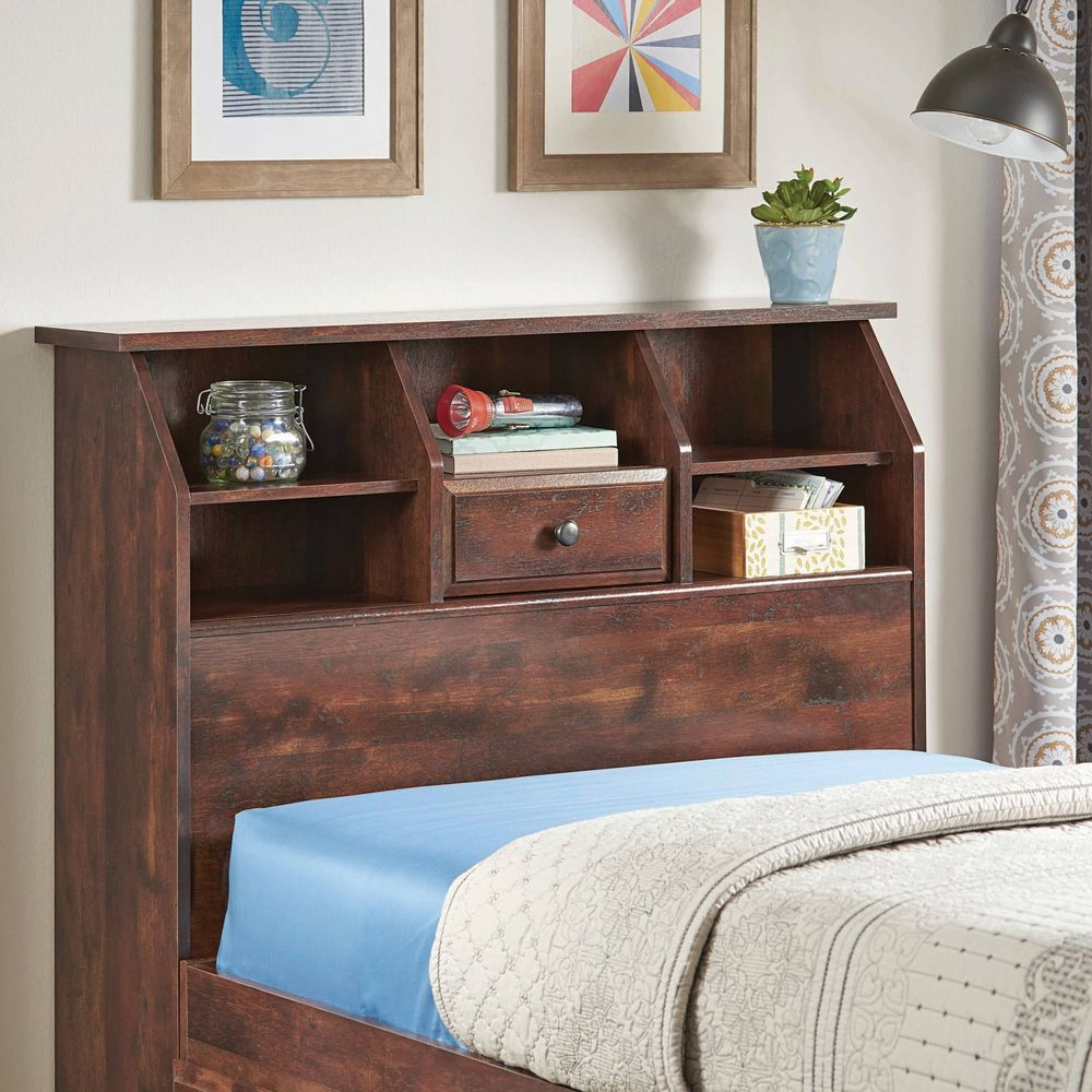 Cherry Twin Bookcase Headboard W Additional Cubby Storage Adjustable Shelves Betterhomesandgardens With Images Bookcase Headboard Rustic Bedroom Furniture Bookcase