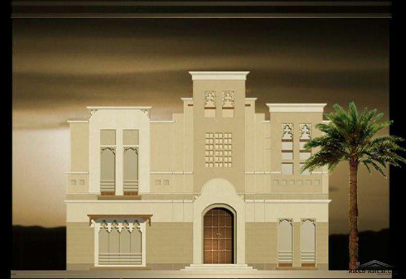 مخطط فيلا مع واجهه ب 3 انماط معمارية Arab Arch House Styles Architecture House Plans