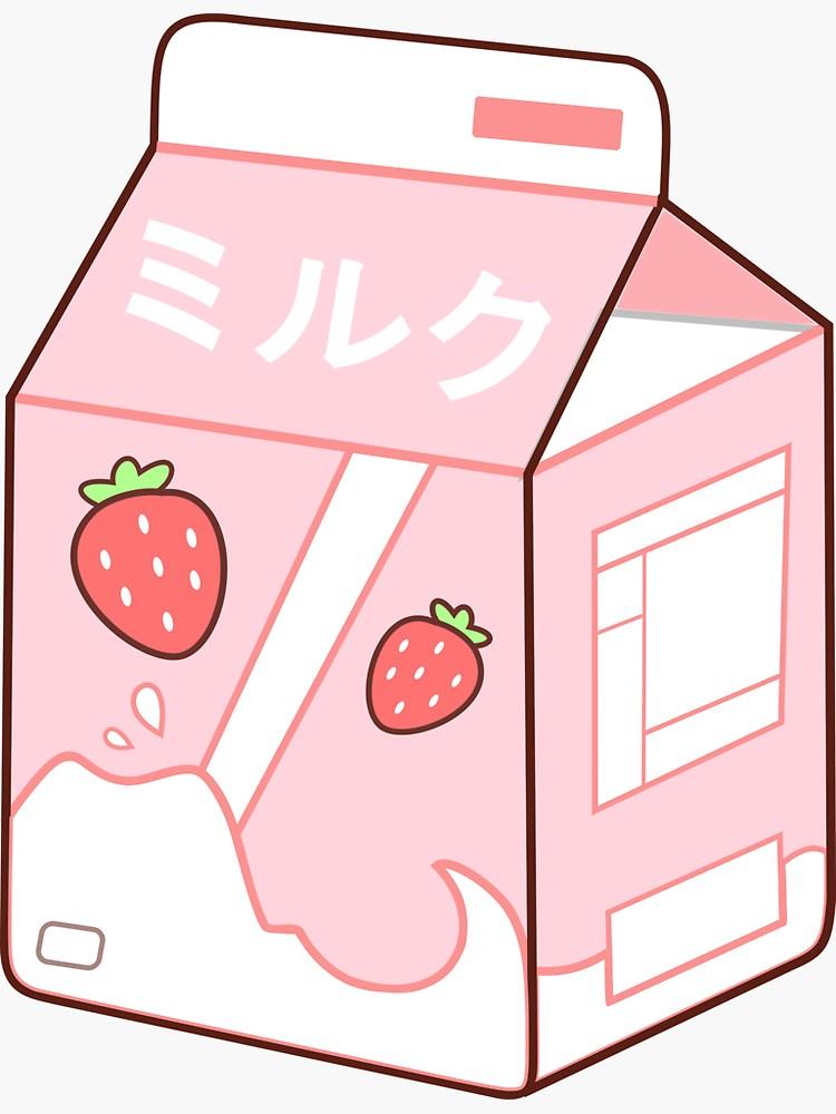 Strawberry Milk Sticker By Beereckless Cute Doodles Cute Food Drawings Cute Stickers