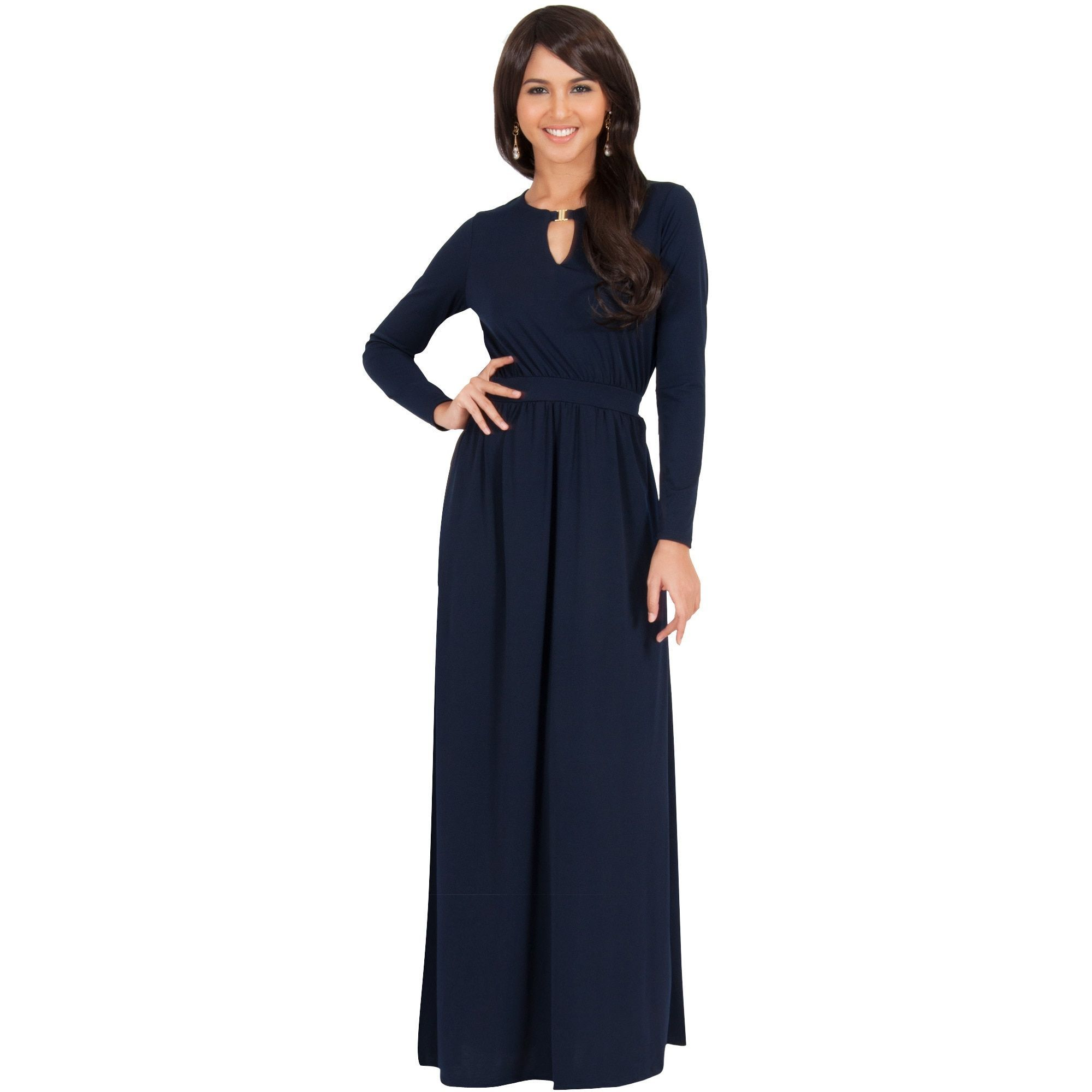Global koh koh womenus long sleeve key hole slimming elegant maxi