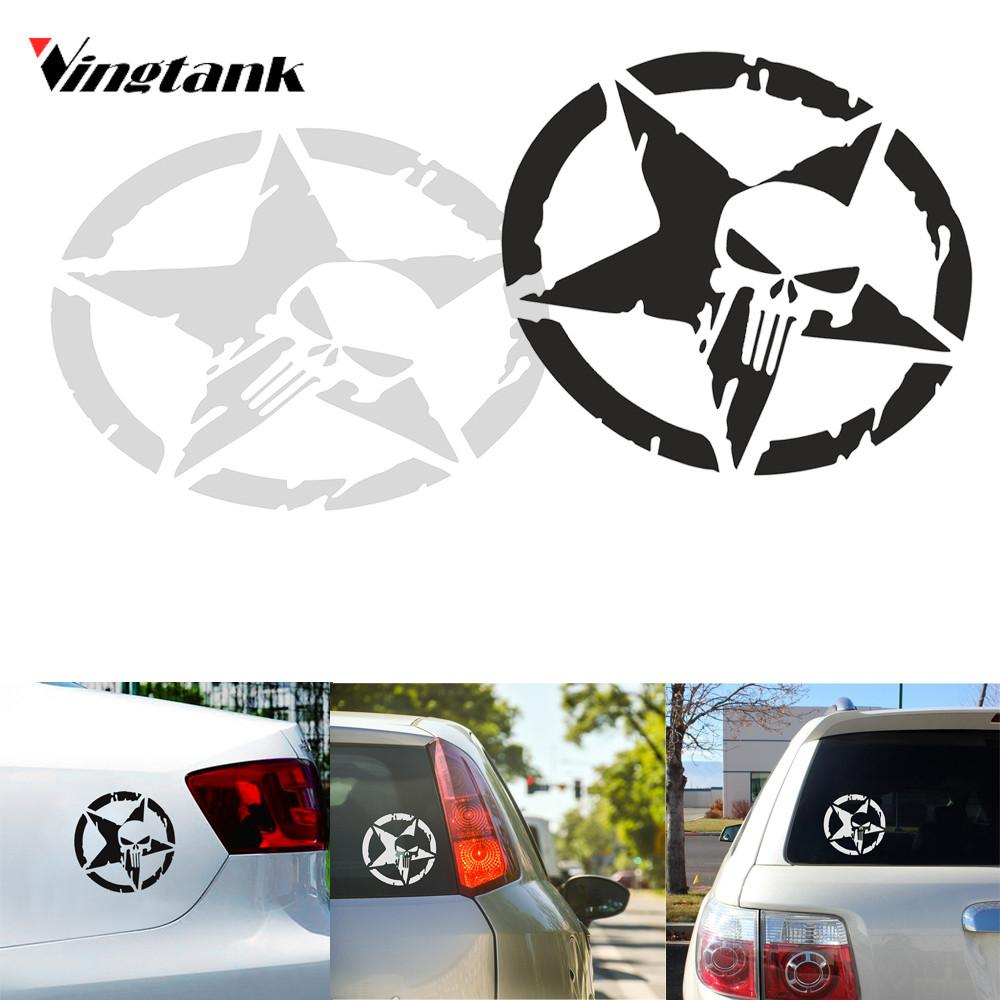 Vingtank star skull car sticker decals cool window wall creative sticker car styling accessories 4 6 dia white black