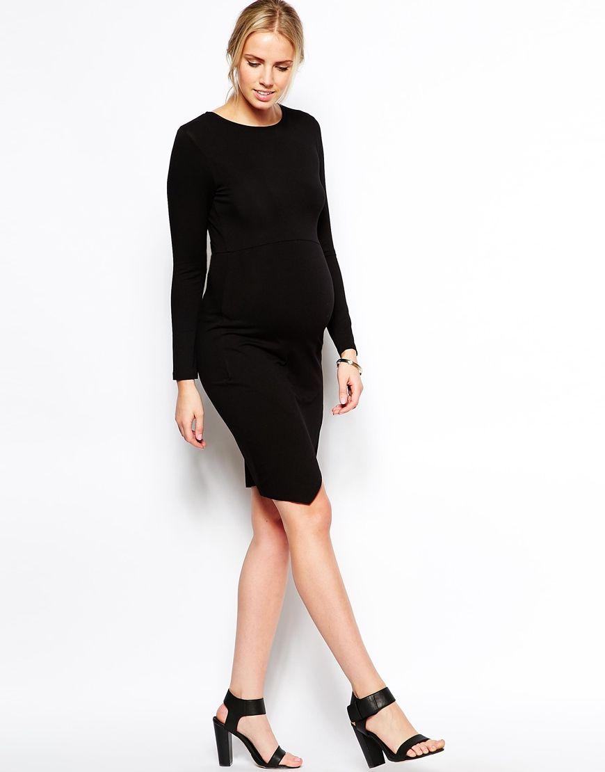 08657c8593 Maternity Black Bodycon Dress With Wrap Skirt Long Sleeve ...