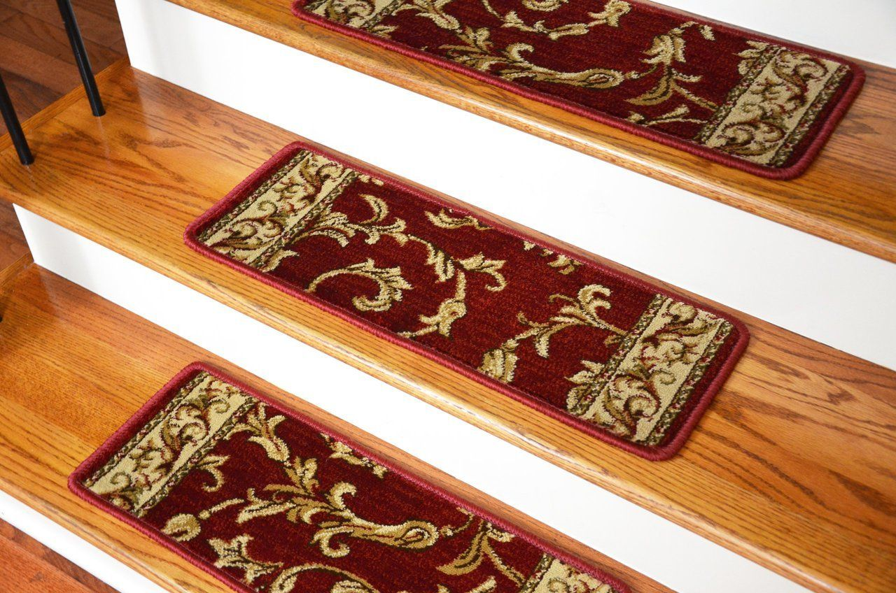 Best Dean Premium Carpet Stair Treads Red Scrollworks 13 400 x 300