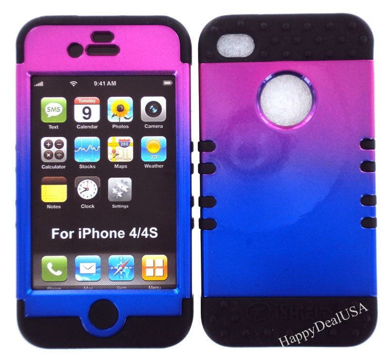 huge selection of ae5e7 14726 2 in 1 HYBRID Silicone Rubber+Cover Case for Apple iPhone 4 4S TN BK ...