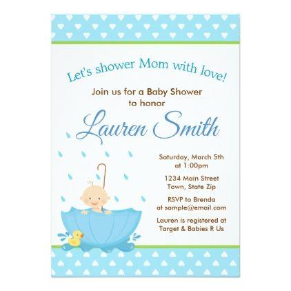 Umbrella Baby Shower Invitation Blue Baby Boy - invitations - sample email invitation