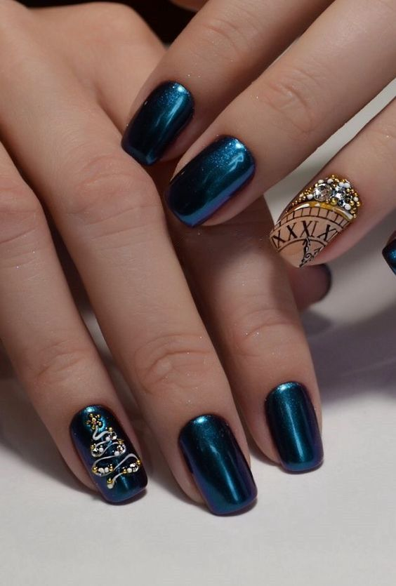 Bright Colors For New Year Nails 2019 Clock Design New Years Nail Art New Years Nail Designs New Year S Nails