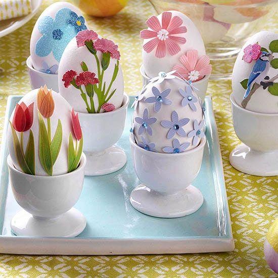 3 Easter Egg Display Decorations On Sticks Decorative Easter Eggs